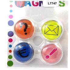 set di 4 magneti 'icônes' multicolori - [ l7747]