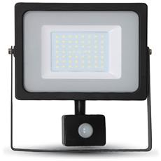 Faretti Led 50w Ip44 Slim Nero Ultra Sottile Sensore Di Movimento Luce Fredda 6400k V-tac Vt-4955 Pir 5839