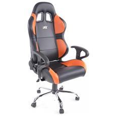 Sedia Da Ufficio Sedile Sportivo Phoenix Con Braccioli, In Similpelle Nero / arancione