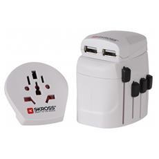 World Adapter Pro+USB, 100-250V, 2500W, +5V, Interno, Universale, Plastica