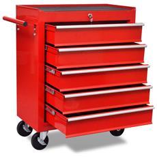 Carrello Portautensili Con 5 Cassetti Rosso Per Garage