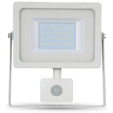 Faretti Led 30w Faro Ip44 Slim Bianco Ultra Sottile Sensore Di Movimento Luce Calda 3000k V-tac Vt-4933 Pir 5822