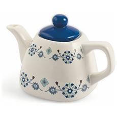Marocco Teiera, Ceramica, Celeste / bianco