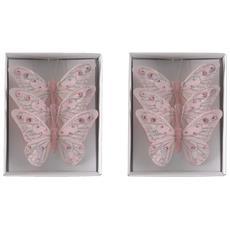 6 Farfalle Rosa Da Appendere Natale Addobbi Albero