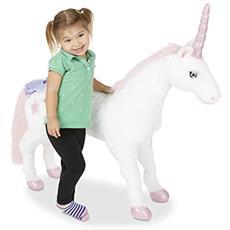 Melissa & Doug Unicorn - Plush Animali giocattolo Tessuto, Metallo, Plastica, Poliuretano Rosa, Bianco