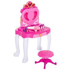 Tavolo Da Trucco Con Sgabello Specchiera Per Bambina Con Luci E Musica 43.5 X 31.5x72.5cm Rosa