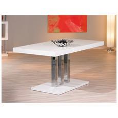 Tavolo, In Mdf Laccato Bianco Lucido E Metallo Cromato - 160x90 Cm