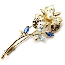 oro placcato pin 'scarlett' zaffiro - [ k4599]