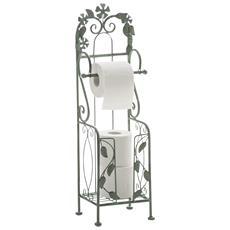 Porta Rotolo Stile Romantico Cp522 Ferro 17x19x66cm Verde Antico