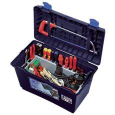 Valigetta sgabello in polipropilene porta utensili. 515 x 287 x H 338 mm BLU