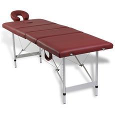 Lettino Pieghevole Da Massaggio Rosso 4 Zone Con Telaio Alluminio