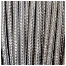 10 Mt Cavo Elettrico Tondo Rotondo Stile Vintage Rivestito In Tessuto Colorato Argento H03vv-f Sezione 3x0,75 Per Lampadari, Lampade, Abat Jour, Design. Made In Italy