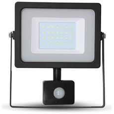 Faretti Led 30w Ip44 Slim Nero Ultra Sottile Sensore Di Movimento Luce Fredda 6400k V-tac Vt-4933 Pir 5821
