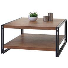 Tavolo Tavolino Da Salotto Hwc-a27 Metallo Legno Mdf Rovere