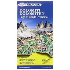 Dolomiti, Lago di Garda, Venezia. Carta stradale e Panoramica in scala 1:200.000. Ediz. multilingue