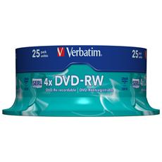 DVD-RW Verbatim Matt Silver 4x - Capacità: 4.7GB - Velocità: 4x - Confezione: