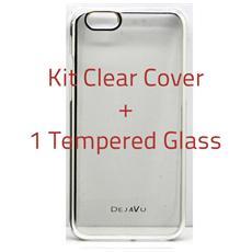 Cover Clear Compatibile Iphone6s Plus Bordo Silv + Temp. Glass