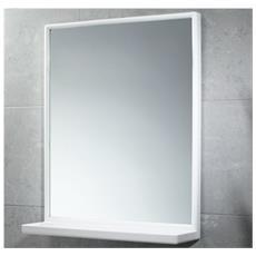 Specchio Rettangolare Cm 45x60 Con Mensola Plastica Bianco - 45x60 2901