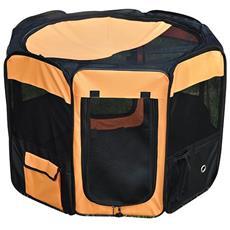 Box Per Animali Domestici Pieghevole, Arancione E Nero, Ø 91 X H58cm