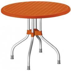Tavolo Ribalto Top diametro 95Cm Con Piano Ribaltabile In Polipropilene E Gambe In Alluminio