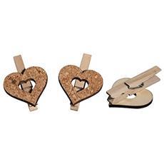 63005000 - Cuore In Sughero / legno Su Graffetta, 4,5 X 5 Cm, 2 Modelli