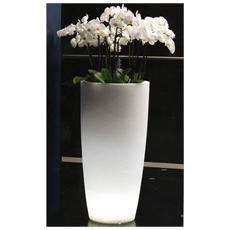 Vaso per Piante, Fiori mod. Tylus Light Con Luce Ø33X70H Cm Col. Bianco