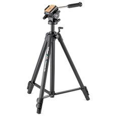 Treppiede per Fotocamere con Testa a 3 Movimenti Altezza Max 161 cm Nero V36022