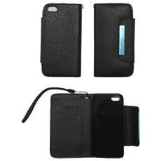 Cover Custodia Flip Iphone5 Pelle Nera Tasche Interne Effetto Litchi