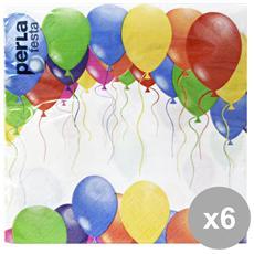 Set 6 Tovaglioli 27303 Colorati 33x33 X 20 Pezzi Feste E Occasioni