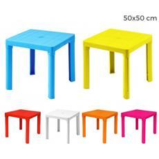 240335 Tavolo Per Bambini In Plastica 50 X 50 Cm Smontabile In Plastica Rigida - Arancione