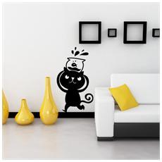 ADESIVI CREATIVI - Adesivo sticker murale Gatto equilibrista Dimensioni 39 X 70 cm