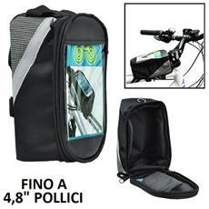 Supporto Bici Universale Per Dispositivi Fino A 4,8 Pollici Con Tasca Porta Oggetti E Fissaggio A Strap Colore Nero