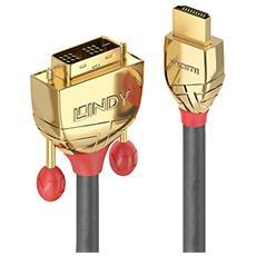 36195 HDMI DVI-D Oro, Grigio cavo di interfaccia e adattatore
