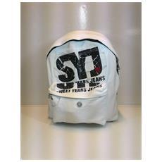 Zaino Scuola Piccolo Jeans Con Tasca Frontale - Bianco