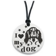 Pendente In Acciaio Con Ciondolo I Love My Dog Cavalier King