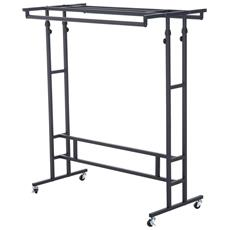 Stand Appendiabiti Con Ruote Barre Superiori Portaoggetti Altezza Regolabile 101 ×50.5 × 118-140cm
