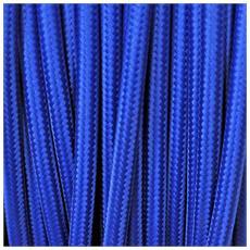 3 Mt Cavo Elettrico Tondo Rotondo Stile Vintage Rivestito In Tessuto Colorato Blu H03vv-f Sezione 3x0,75 Per Lampadari, Lampade, Abat Jour, Design. Made In Italy