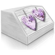 Portapane Con Decoro In 'rose Heart Violet' In Legno White Dalle Dimensioni Di 30x40x20 Cm