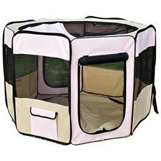 Recinto Box Per Animali Domestici In Tessuto Oxford, Rosa, 116x71cm
