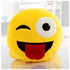 621037 Cuscino Emoticon Occhiolino Con Lingua Emoji Pillow Faccine Diam. 30 Cm