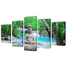 5 Pz Set Stampa Su Tela Da Muro Buddha 100 X 50 Cm