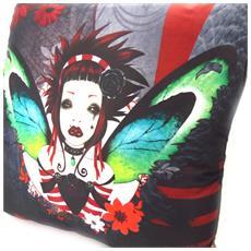 cuscino decorativo 'fairy dreams' nero rosso - [ k5381]