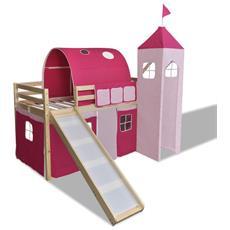 Letto A Castello Per Bambini Con Scivolo E Scala In Legno Rosa