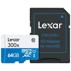 MicroSDHC High Speed da 64 GB Class 10 + Adattatore