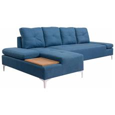 Divano A L In Tessuto Blu Con Vassoio In Legno Xxl 300cm