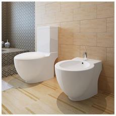 Set Di Bidet & Toilette In Ceramica Bianca