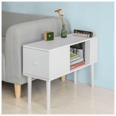 Tavolino Da Divano, mobiletti Da Soggiorno O Letto, con Cassetto, bianco, fbt60-w