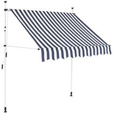 Tenda Da Sole Retrattile Manuale 150 Cm A Strisce Blu E Bianche
