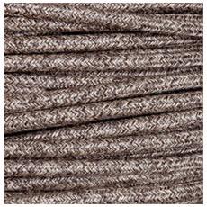 1 Mt Cavo Elettrico Tondo Rotondo Stile Vintage Rivestito In Tessuto Filato Lino Marrone H03vv-f Sezione 2x0,75 Per Lampadari, Lampade, Abat Jour, Design. Made In Italy