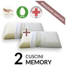 Coppia Cuscini Memory Tessuto Aloe Vera42x72